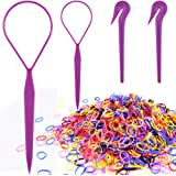 Colorful Elastic Hair Bands, IKOCO 1000 Pcs Rubber Hair Bands 2 Pcs Topsy Hair Tail Tools 2 Pcs Pony Pick for Toddlers…