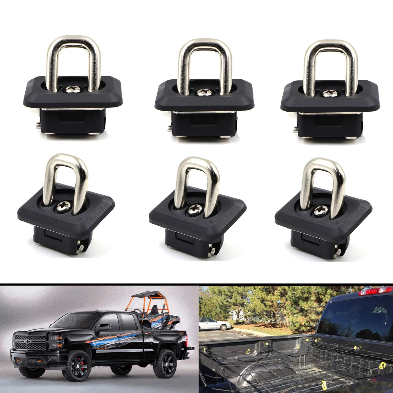 AEagle Tie Down Anchors Retractable Truck Bed Side Wall D Ring for 2015-2018 Chevrolet Colorado /& GMC Canyon 2007-2018 Chevrolet Silverado 1500 2500HD 3500HD /& GMC Sierra 1500 2500HD 3500HD 6 Pcs