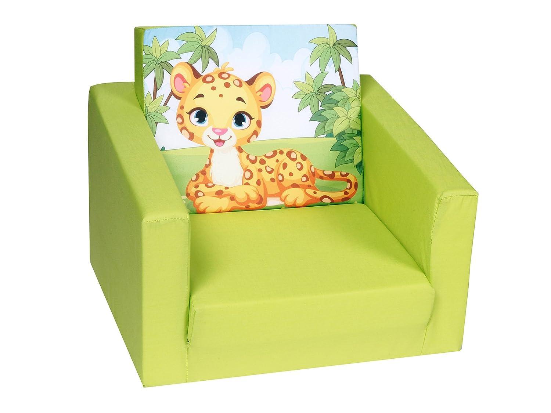 DELSIT Kindersessel zum Ausklappen Ausklappbare Kinder Sessel Baby Sessel Spielzimmer Kindermöbel für Jungen und Mädchen DSCHUNGEL Grün DELTA TRADE S.J. DT5-18100