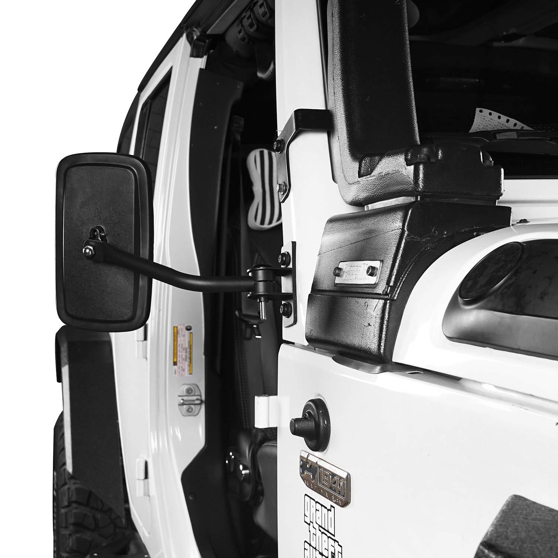 Jeep Wrangler 97-06 TJ /& 07-18 JK Tubular Doors Off Rectangle Mirrors-Black