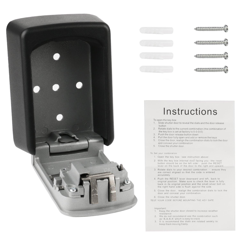Caja de cerradura con llave ONBET Caja de cerradura de caja fuerte con llave de caja fuerte para montaje en pared resistente al aire libre ONBET con ...