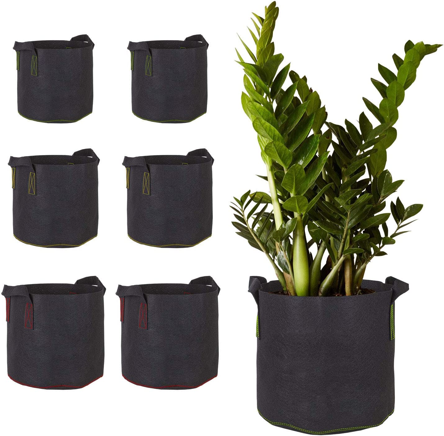 Assorted Sizes (3 Gallon, 5 Gallon & 7 Gallon) Aeration Fabric Pots with Handles for Plants, Vegetables & Flowers - 6 Pack