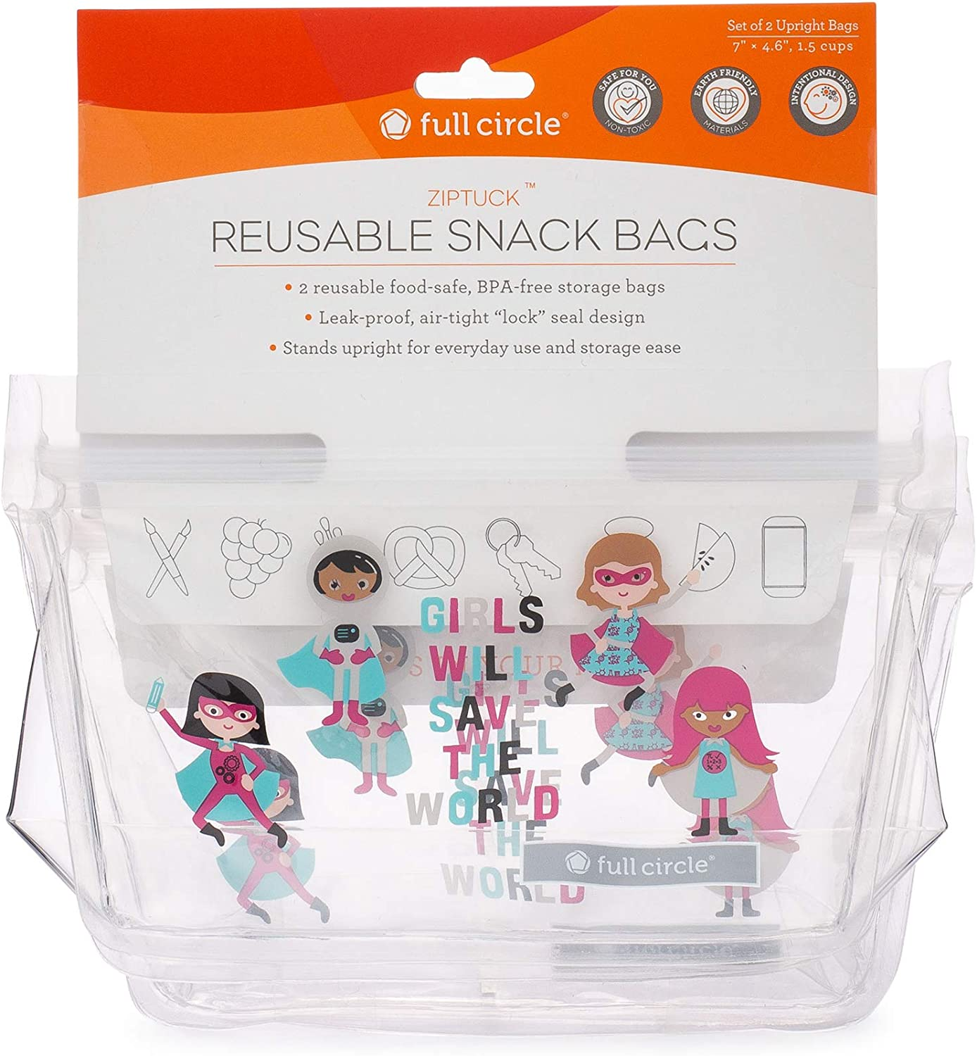 Full Circle ZipTuck Kids Reusable Plastic Food and Storage Bag, Snack Set of 2 with Gusset Base, Girl Heroes