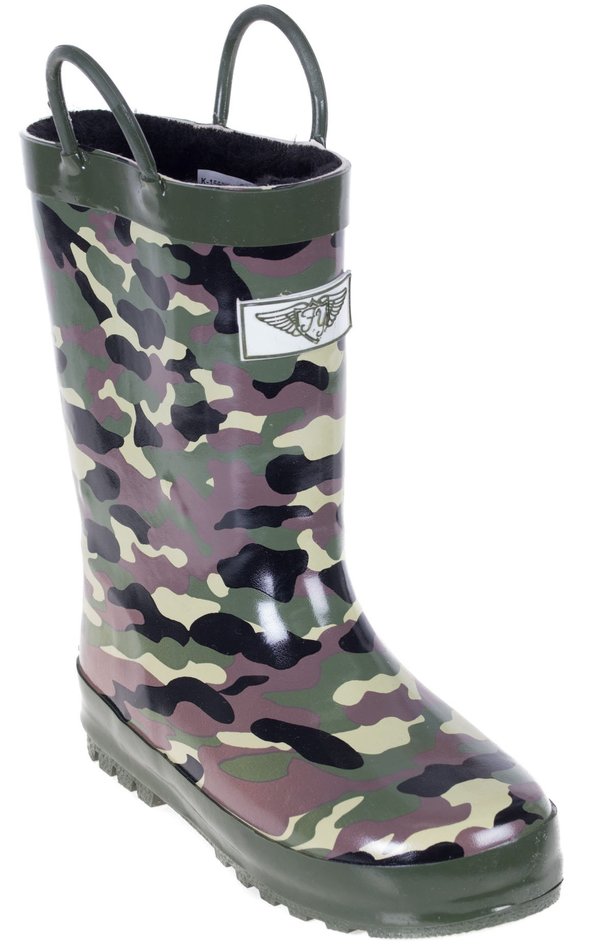 Boys Rain Rubber Boots, Best Warm Faux Fur Lined for Boys, Camo Army, Size 13 by Forever Young (Image #1)