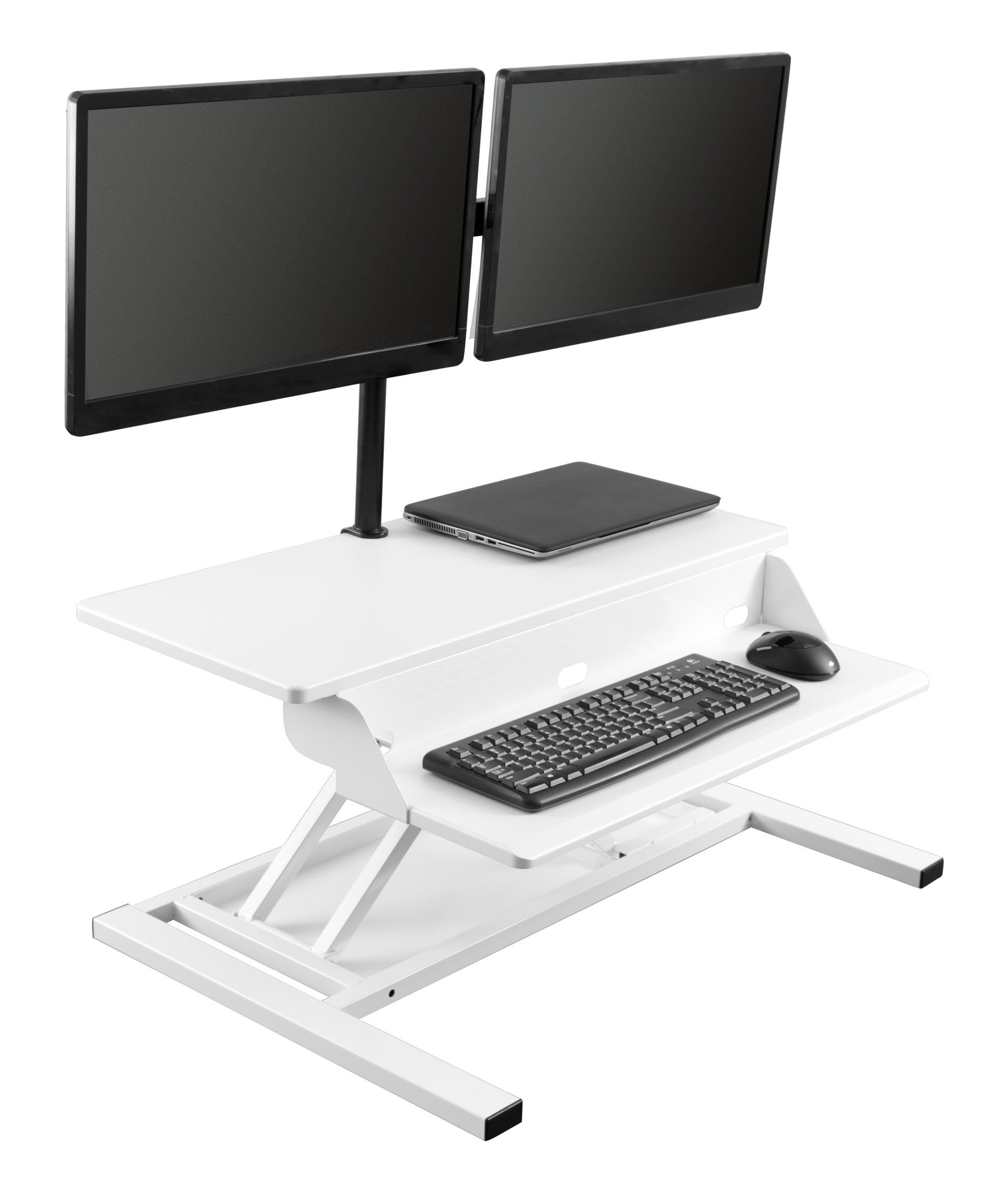 Stand Up Desk Store AirRise Pro - Adjustable Standing Desk Converter with Dual Monitor Mount | Height Adjustable Desk - Turns Any Desk Into a Standing Desk, 32'', Up to 24'' Monitors, Black (32'', White) by Stand Up Desk Store