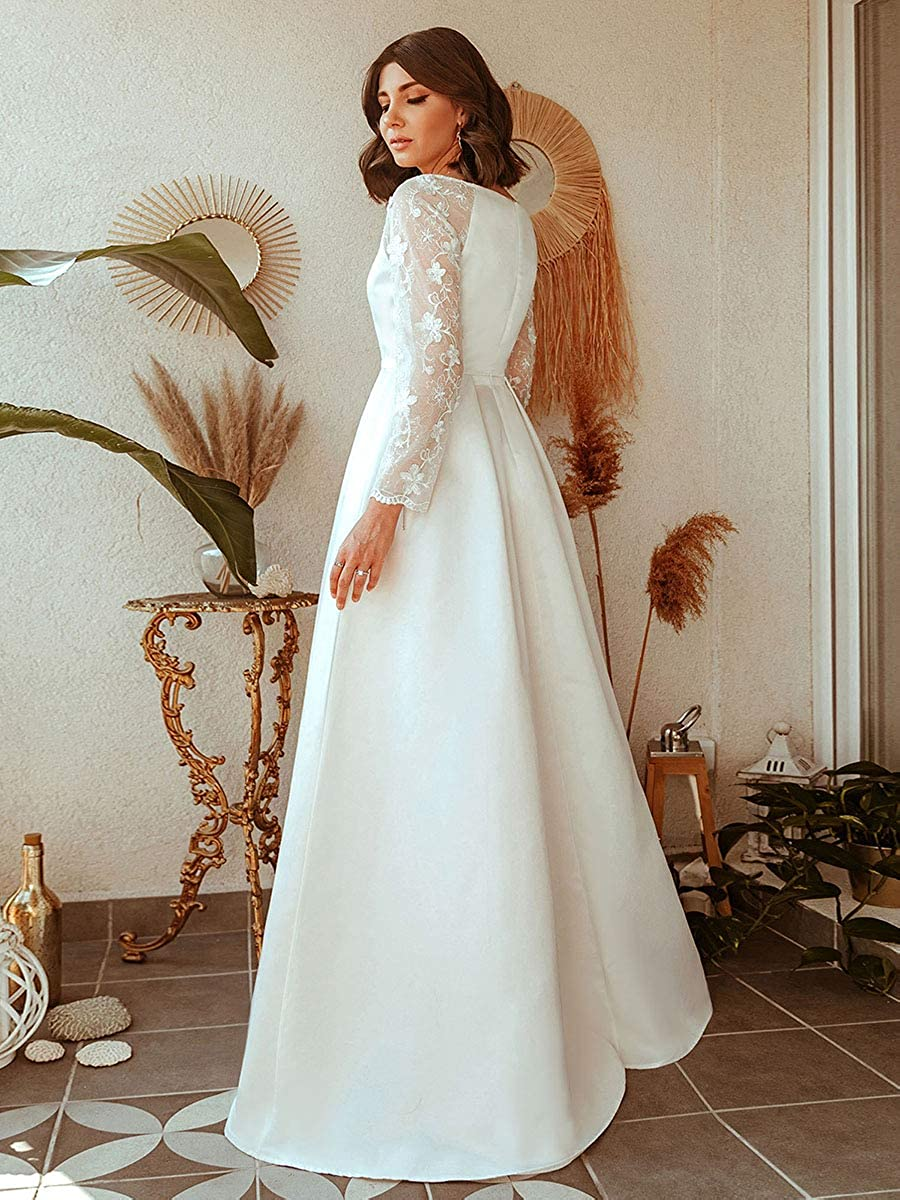 Ever-Pretty Womens V Neck Lace Long Sleeve Floor Length Elegant Swing A Line Evening Dresses 00707