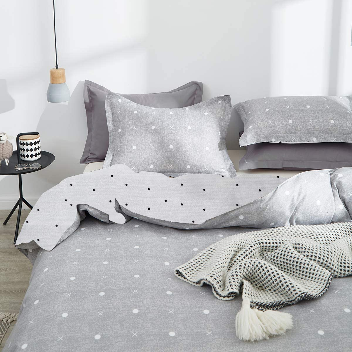 800 TC Luxury Hypoallergenic with 4 Ties /&Zipper Uozzi Bedding Twin Kids Summer Thin Duvet Cover Set Blue Gray /& Triangles 3 Piece 1 Comforter Cover 68x90 + 2 Pillow Shams