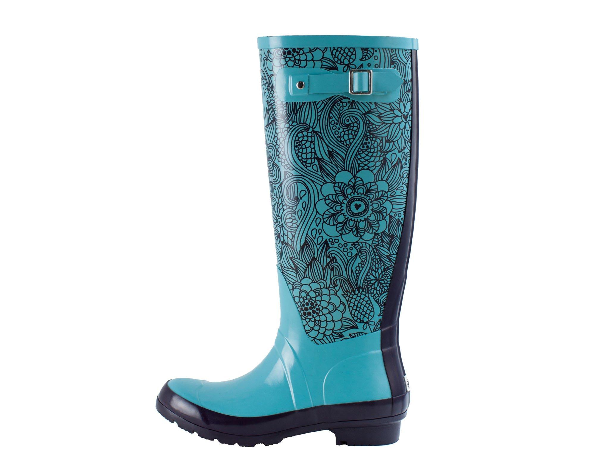 Oakiwear Women's Noxon Rubber Rain Boots, Blue Floral, 10