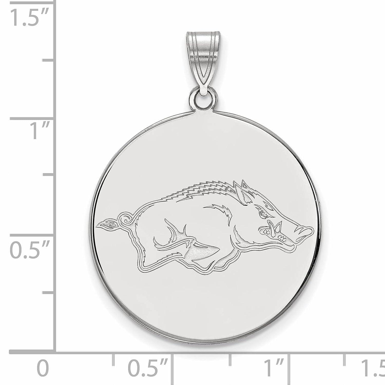 925 Sterling Silver Rhodium-plated Laser-cut University of Arkansas XL Disc Pendant