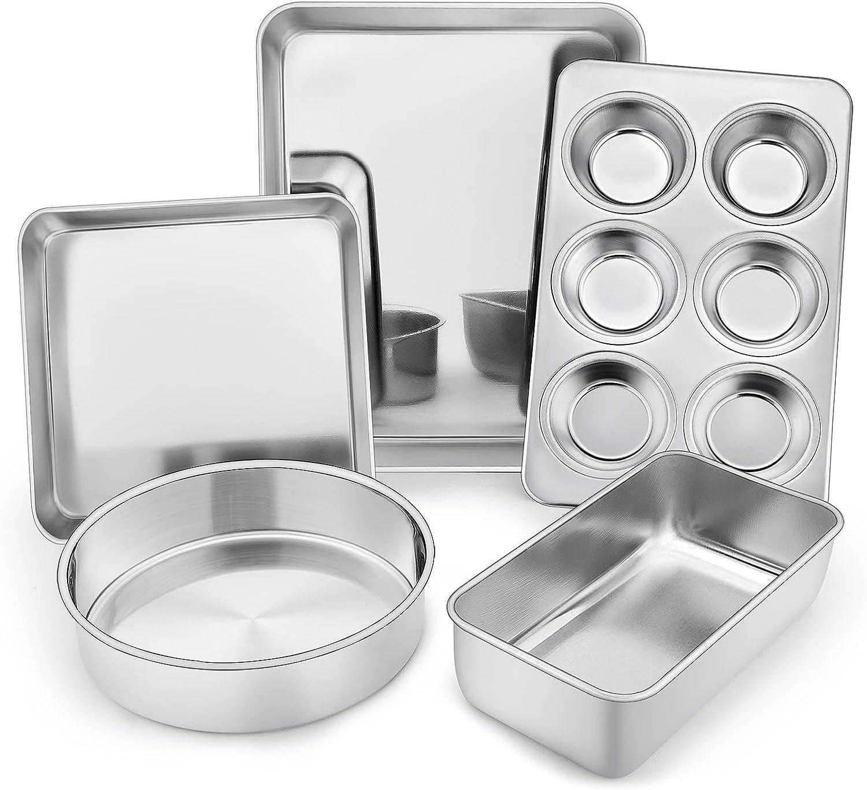 TeamFar Stainless Steel Bakeware Set of 5, Toaster Oven Baking Roasting Pans, Square/Round Cake Pan, Loaf Pan & Muffin Pan, Healthy & Heavy Duty, Smooth & Dishwasher Safe