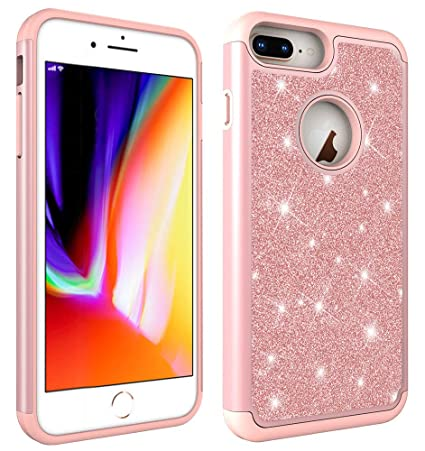7a3d7040574378 Aiyze Compatible Apple iPhone 8 7 6 6S Case Glitter Powder Bling  Heavy  Duty  Tough Dual Layer 2 in 1 Rugged Rubber Silicone Hybrid Hard Plastic  Soft TPU ...