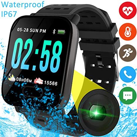 2ca0fb8d0568 Smart Watch Fitness Tracker with Heart Rate Blood Pressure Monitor for Men  Women Kid Outdoor Sport
