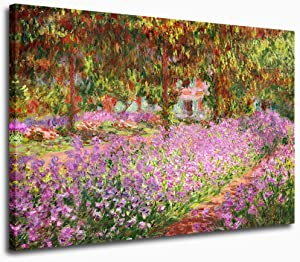 """Canvas Wall Art Prints Irises in Monet's Garden by Claude Monet Canvas Painting Picture Wall Decor Framed Ready to Hang - 30"""" x 40"""" Large Artwork for Home Bedroom Living Room Decoration"""