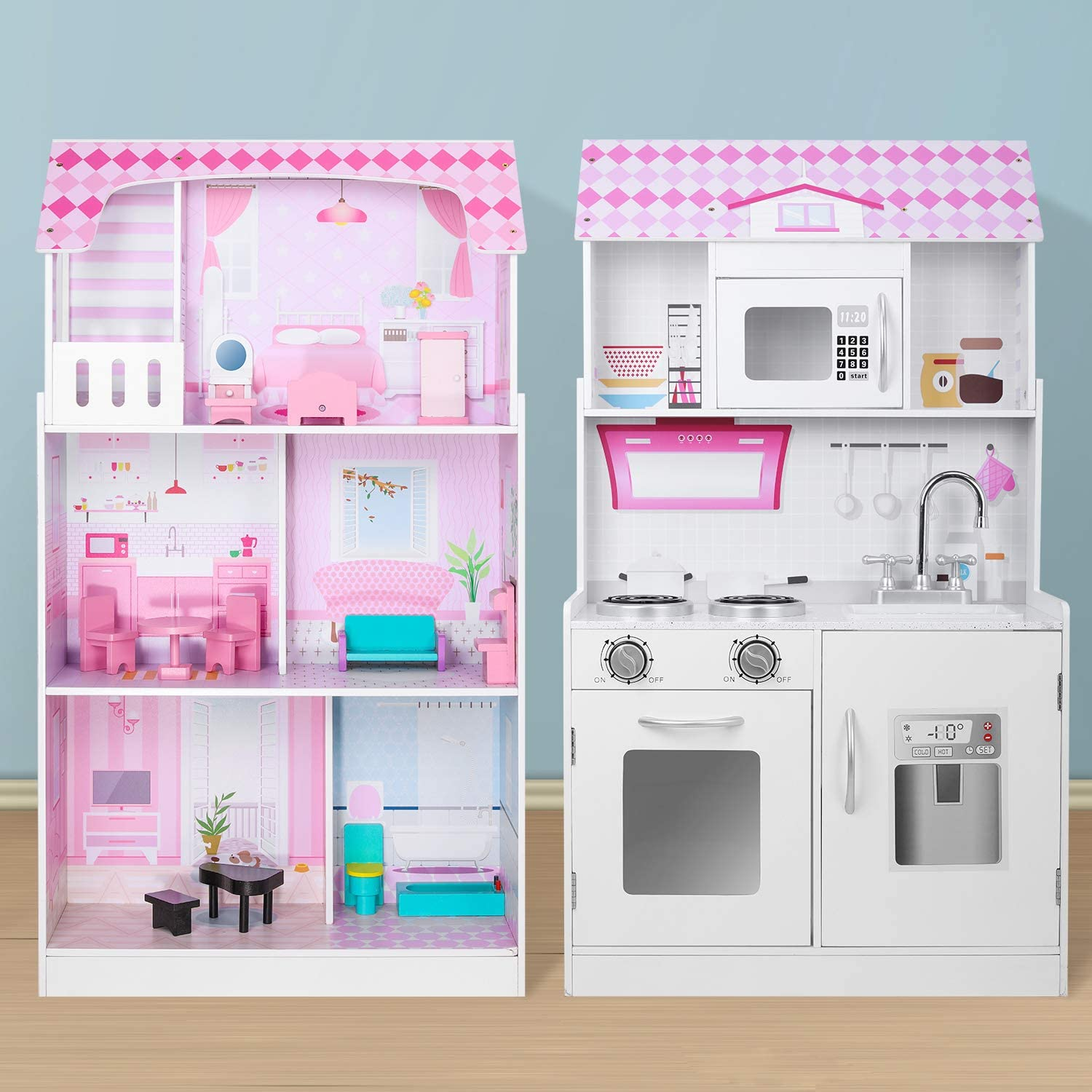 CLOFY Doll House & Play Kitchen 2 in 1, Perfect Wooden Dollhouse and Kitchen Playset for Kids, with Included Accessories, Pink / White