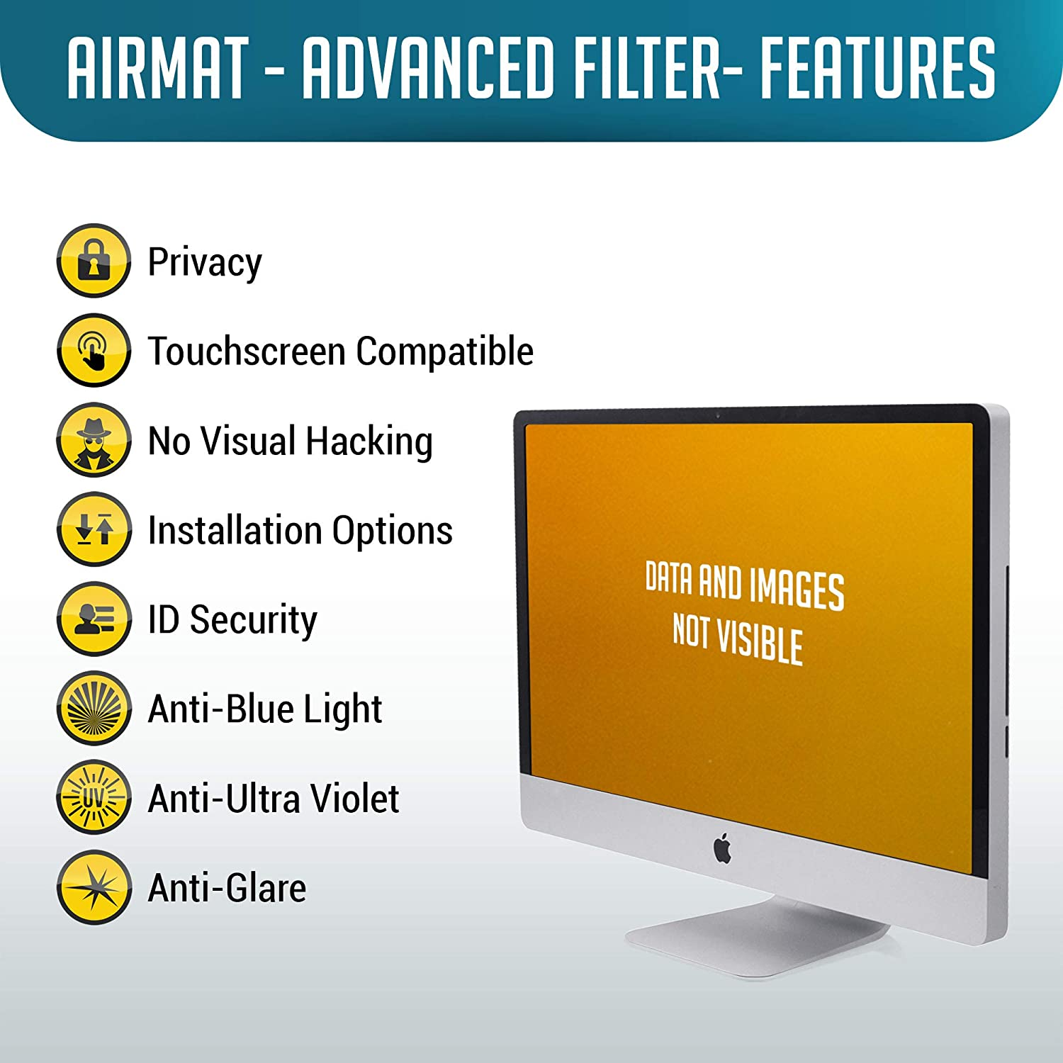 19 inch Computer Privacy Screen Filter for Standard Display Monitors by AirMat Premium Anti Glare Protection for Data Confidentiality
