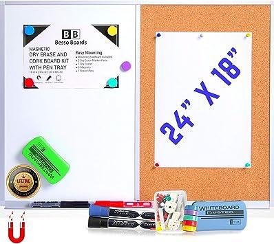 "Magnetic Bulletin Combo Board 18 x 24/"" White Board and Cork Board Combination"