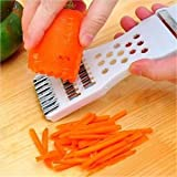 OrliverHL 5 in 1 Multifunctional Peeling and Slicing Cutter Fries Kitchen Tools White