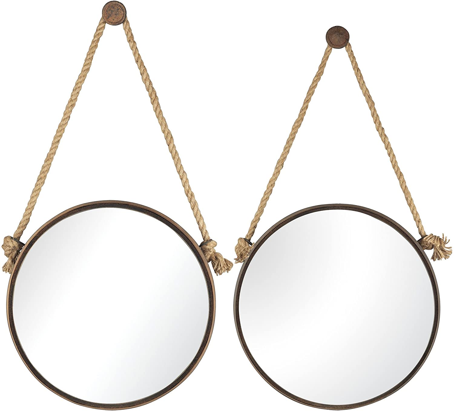 Round Metal Mirror With Rope Part - 38: Amazon.com: Sterling 53-8502 Iron Holder Mirrors On Rope, Round, Rust, Set  Of 2: Home U0026 Kitchen