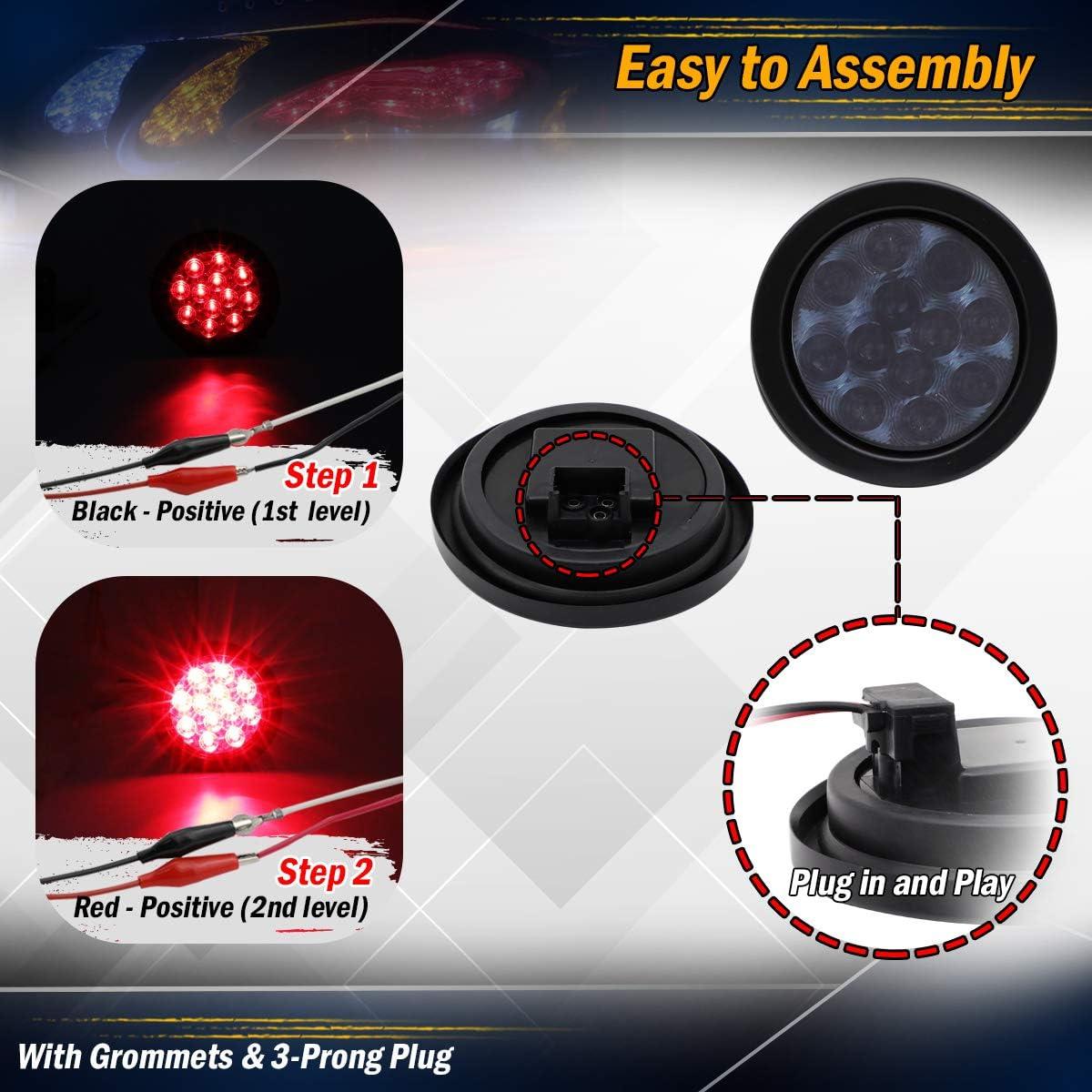 4 Inch Round Clear Lens Red LED Sealed Clearance Lamp Marker Indicator Lights Brake Stop Truck Trailer Tow Caravan Camper Bus Van Pickup Kit Include Black Resin /& Plug 12v DC GA12 Pack of 2 Meerkatt