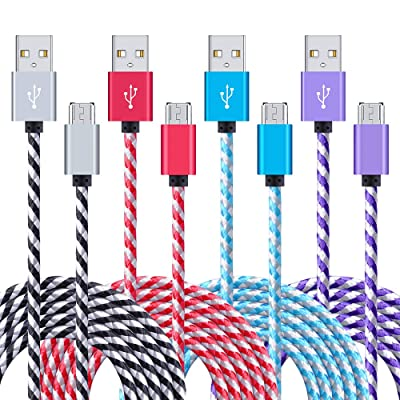 USB Cable Android, 4-Pack 6ft Long Samsung Fast Charger Cord Sync Micro USB Charging Cable Android Charger Cord for Samsung Galaxy S7 Edge/S6/S5 J3 J7, LG Stylo 3 Plus, Echo Dot, PS 4 Pro, Xbox One [5Bkhe1511697]