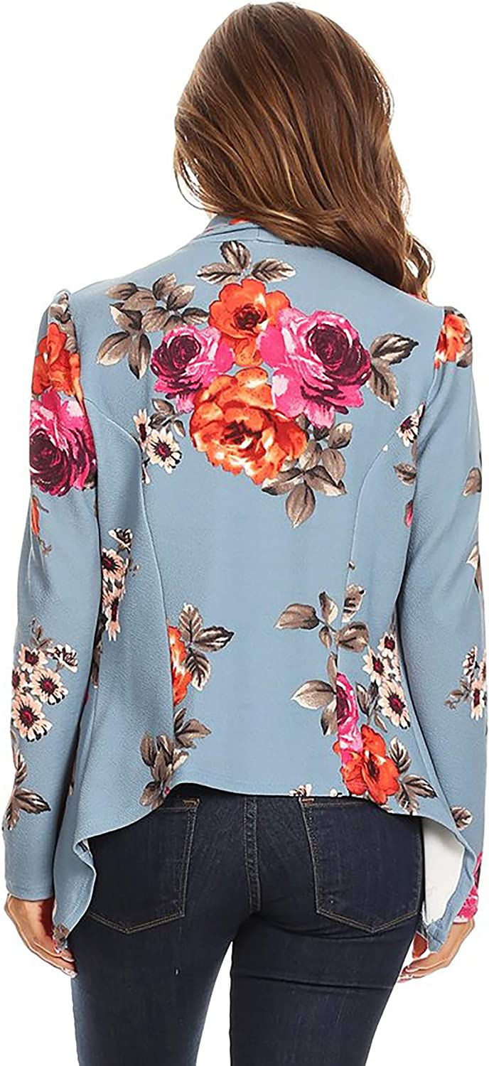 Womens Casual Work Office Long Sleeve Open Front Blazer Jacket with Plus Size Floral Light Blue 2XL