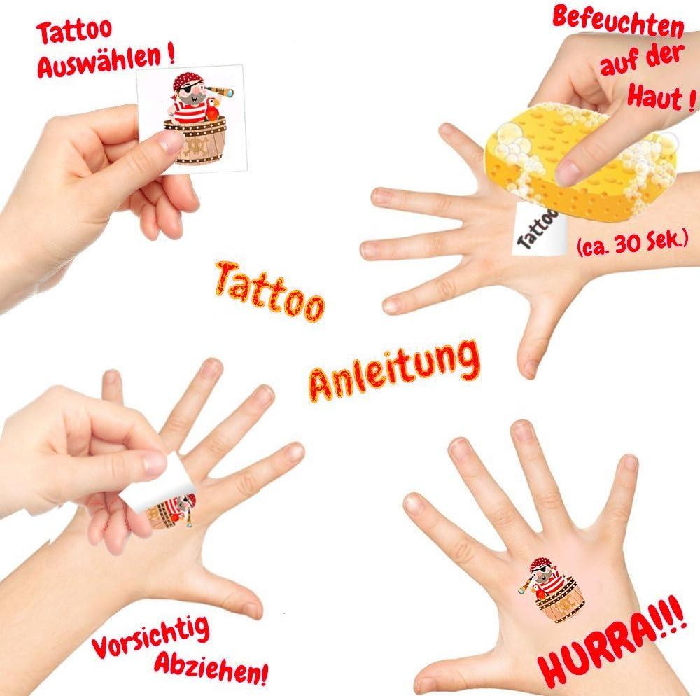 German Trendseller® - 12 x tatuajes temporales pirata┃ fiestas ...