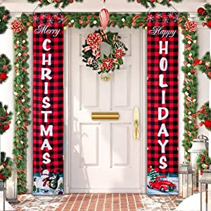 Christmas Banners Porch Sign, Hanging Sign Banner for New Year Christmas Decorations Welcome Door Sign for Home Outdoor Indoor Holiday Party Decor