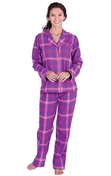 c882ae284b PajamaGram Flannel Pajamas Women Plaid - Button Front Womens Pajama ...