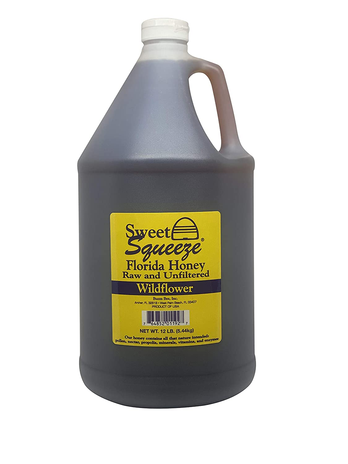 Sweet Squeeze Raw Honey - Unfiltered & Unpasteurized Wildflower Honey From Florida's Beekeepers - 12 Pound (Gallon)