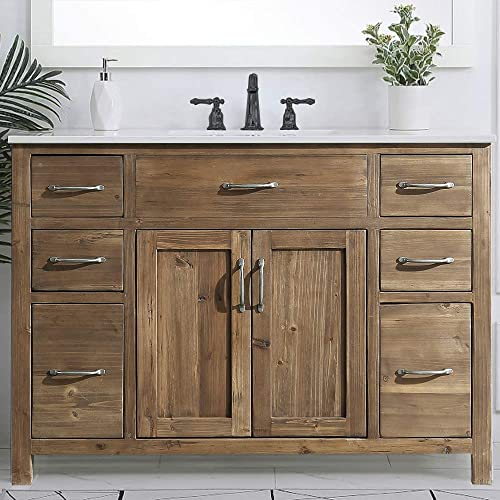LUCA Kitchen Bath LC48TDP Hampton 48 Reclaimed Wood Single Sink Bathroom Vanity Cabinet Base Only-No Assembly Required