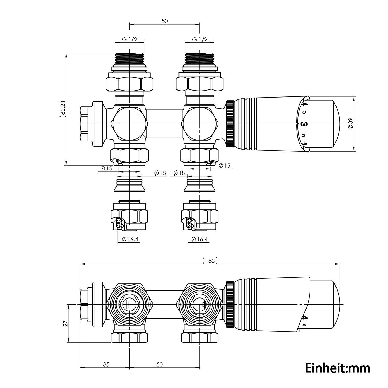 Thermotstat Hahnblock Ventil Heizungszubeh/ör Eck Multiblock Set f/ür Heizk/örper Anschlussarmatur inkl und Durchgangsform anthrazit