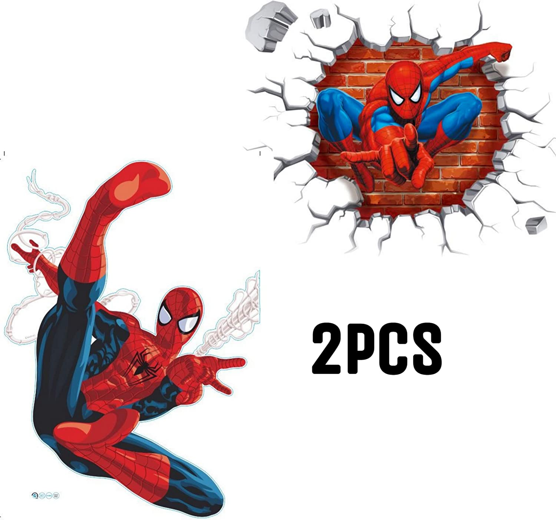 Kibi 2PCS Spiderman 3D Pegatinas Spiderman Pegatinas Decorativas Pared Spiderman Pegatinas de Pared de Spiderman Para Ni/ños Decoraci/ón de la Pared Stickers Spiderman