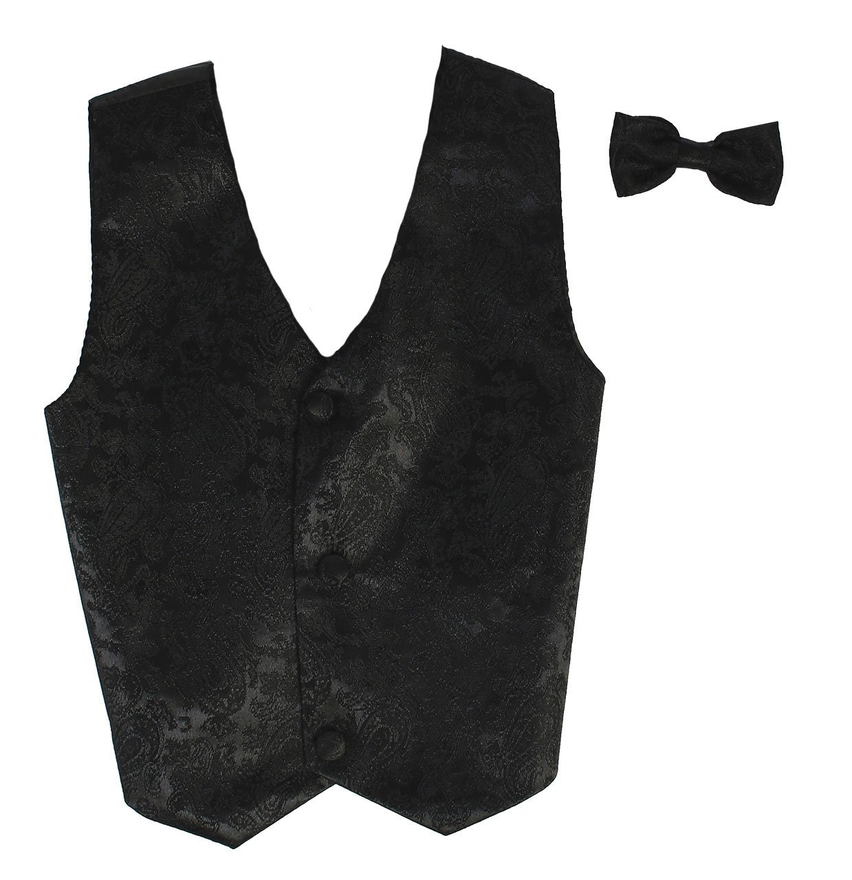 Vest and Clip On Boy Bowtie set - BLACK PAISLEY - Old Style - S/M