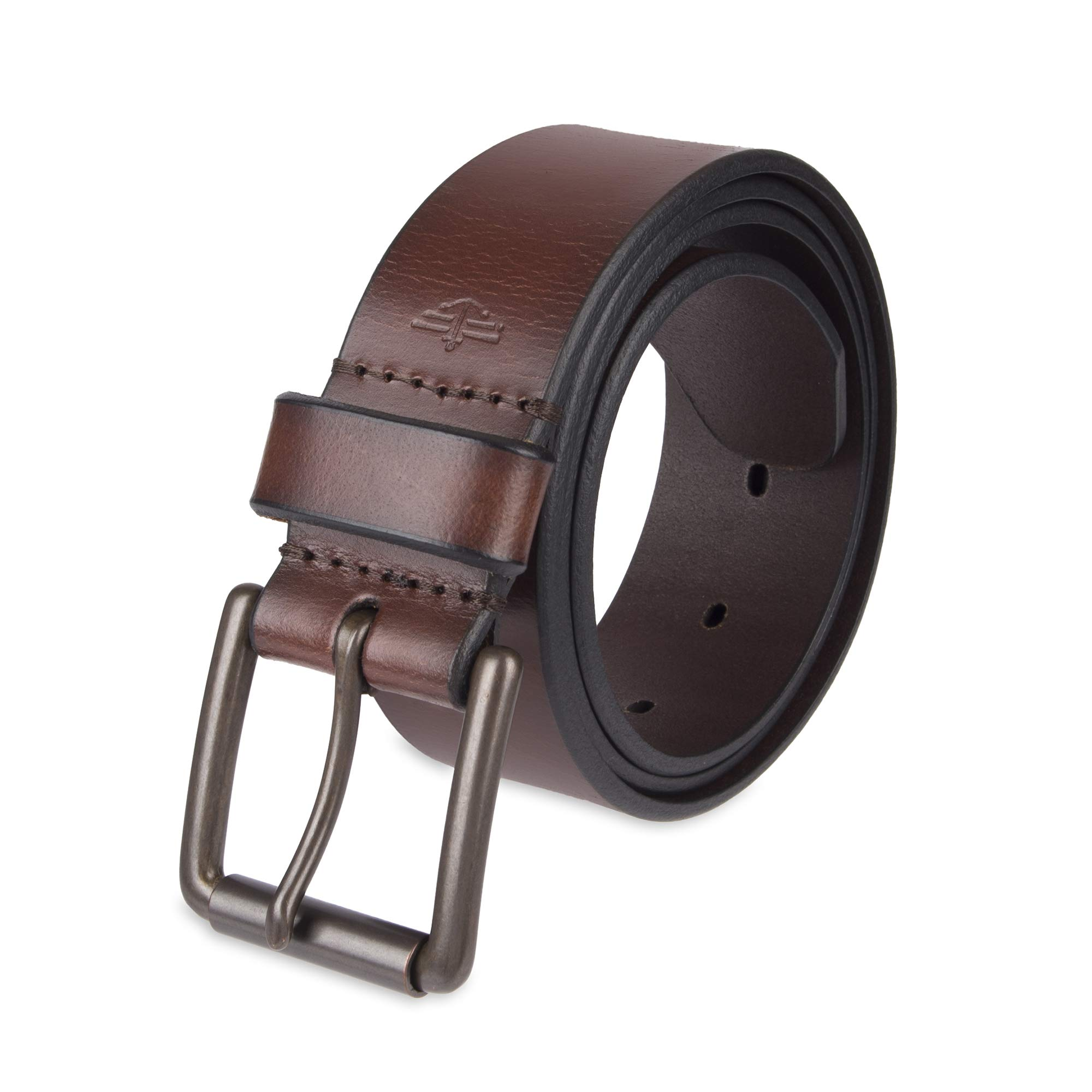 Dockers Men's Casual Leather Belt - 100% Soft Top Grain Genuine Leather Strap with Classic Prong Buckle, Brown,36