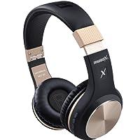 Bluetooth-Kopfhörer, Rriwbox XBT-80 Faltbare, kabellose Stereo-Kopfhörer Over-Ear mit Mikrofon und Lautstärkeregelung, mit und ohne Kabel, für PC/Handys/TV/iPad (Black&Gold)
