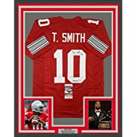 $424 » Framed Autographed/Signed Troy Smith 33x42 Heisman 06 Ohio State Red College Football Jersey JSA COA