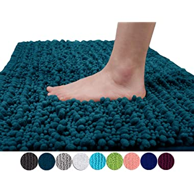 Yimobra Original Luxury Shaggy Bath Mat Large Size 31.5 X 19.8 Inch Super Absorbent Water,Non-Slip,Machine-Washable,Soft and Cozy,Thick Modern for Bathroom,Floor,Peacock Blue