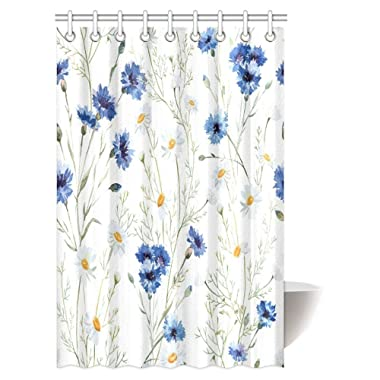 InterestPrint Watercolor Flower Decor Shower Curtain, Wildflowers Cornflowers Daisies Blooms and Buds Fabric Bathroom Shower Curtain Set with Hooks, 48 X 72 Inches