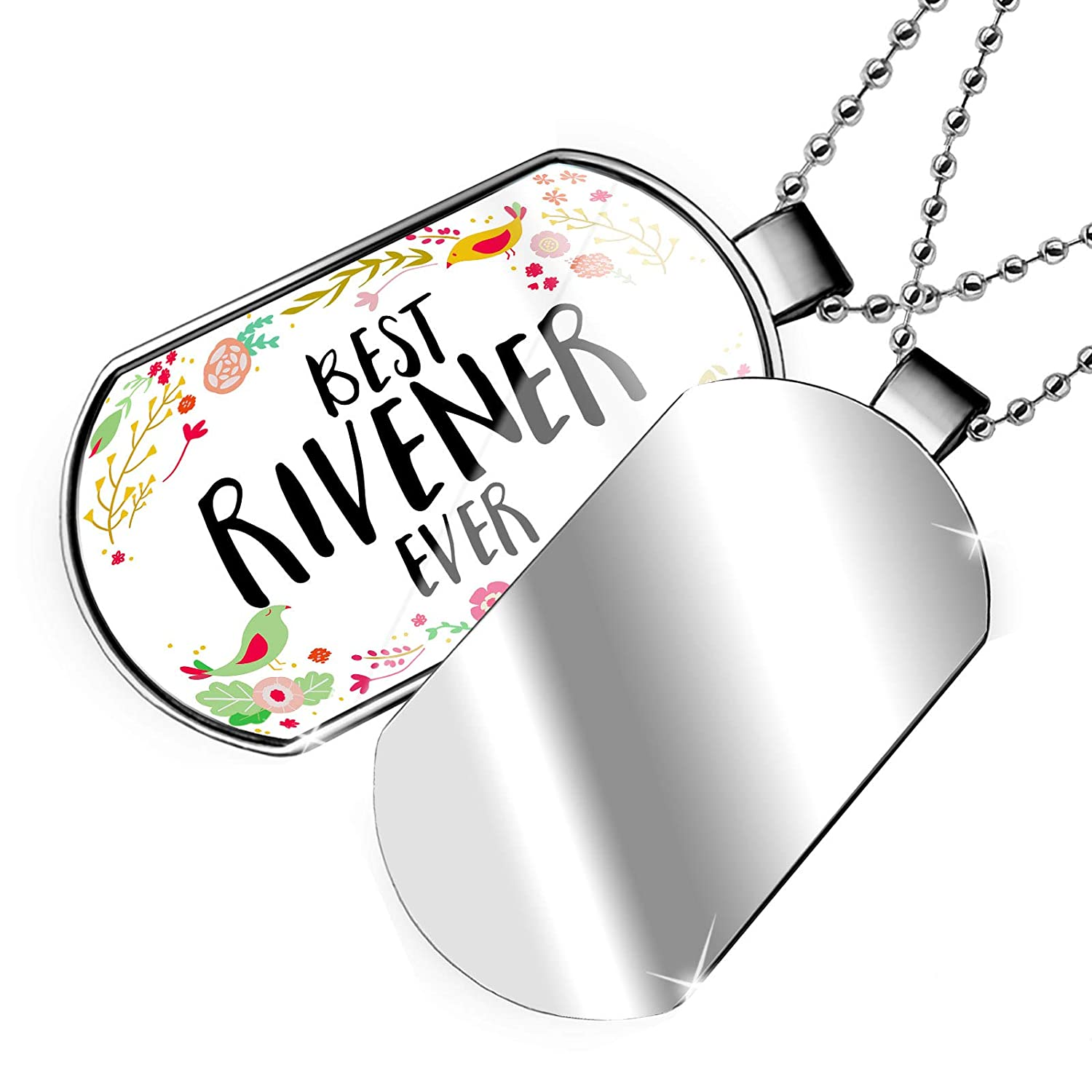 NEONBLOND Personalized Name Engraved Happy Floral Border Rivener Dogtag Necklace