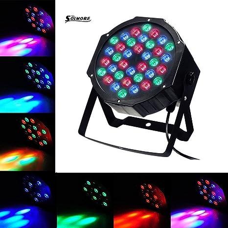Solmore - Luces de escenario LED, par de luces, focos estroboscópicos de escenario, lámpara esférica, luces de ...