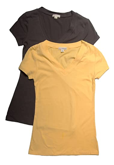 552b5cb9f Image Unavailable. Image not available for. Color: 2 Pack Zenana Women's  Basic V-Neck T-Shirts ...