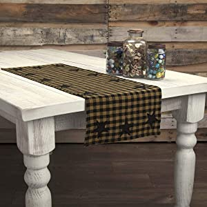 """VHC Brands Classic Country Primitive Tabletop & Kitchen - Star Woven Runner, 13"""" x 36"""", Black"""