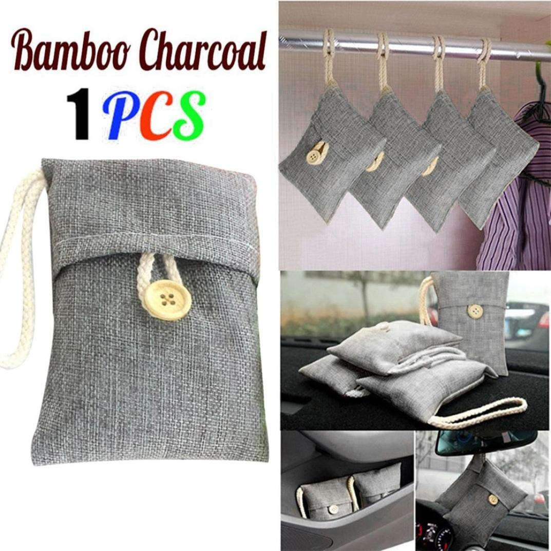 Highpot Bamboo Charcoal Air Freshener and Odor Eliminator Bag Nature Fresh Air Purifying Bag for Cars,Closet,Shoes,Kitchens,Basements,Bedrooms,Living Areas (Gray)