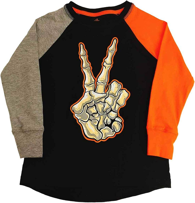 Boys Black Skeleton Peace Halloween T-Shirt Glows in The Dark Tee Shirt