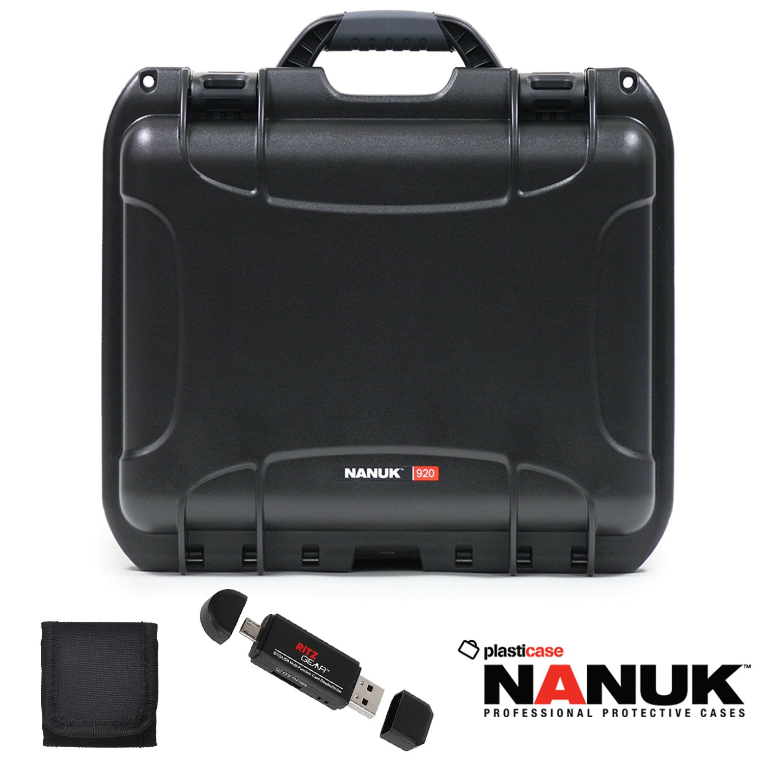 Nanuk 920 Hard Case with Cubed Foam, Polaroid Memory Card Wallet and Ritz Gear Card Reader / Writer