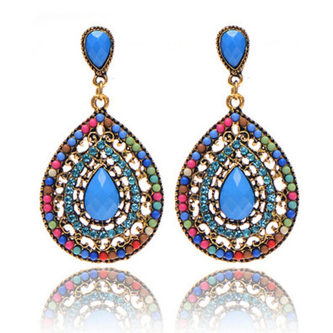 Swyss Bohemia Vintage Flower Rhinestone Stud Earring for Women Dangling Chic Jewelry Accessories Summer Style (Multicolor)
