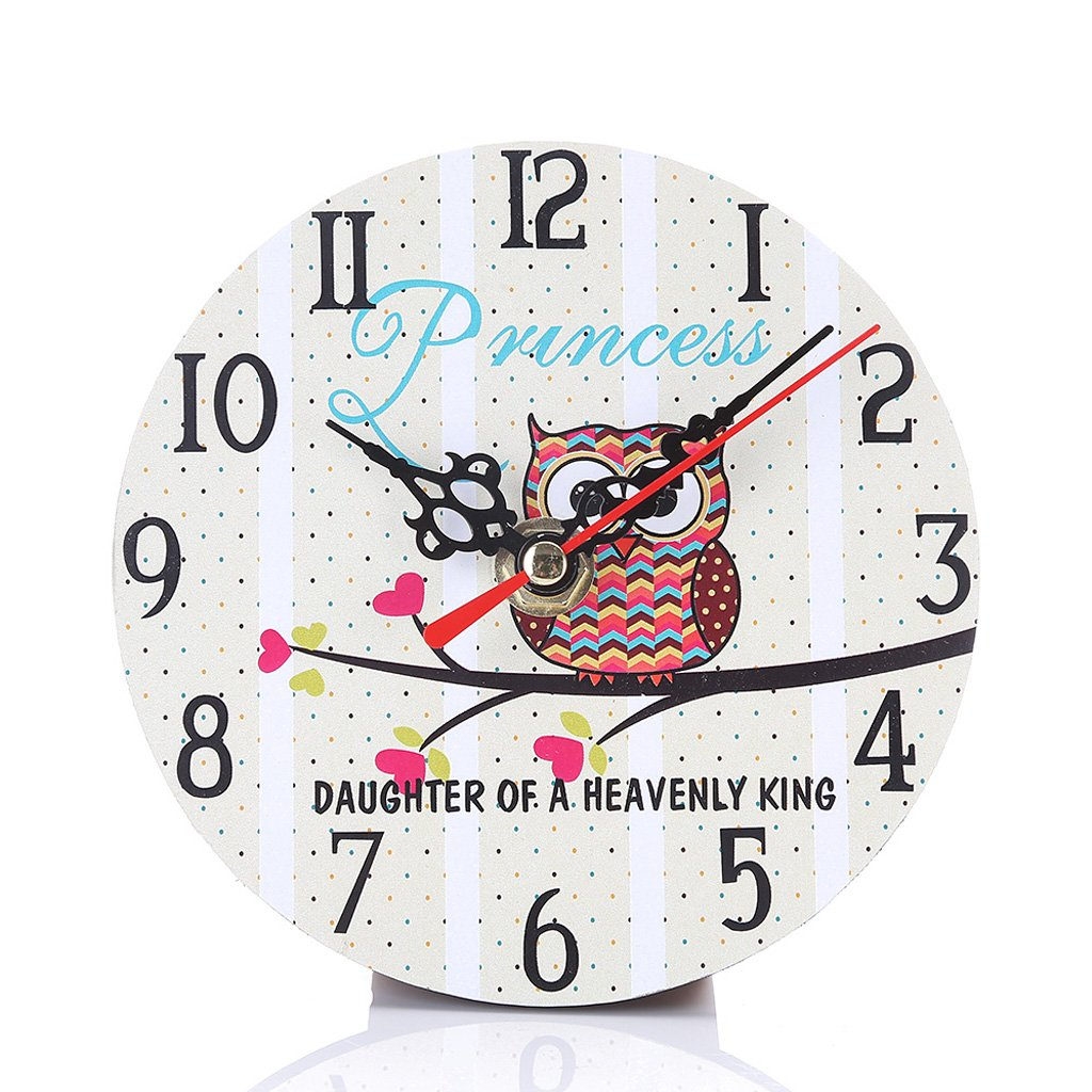 Riashop Modern Wooden Wall Clock Owl Round Vintage Rustic Home Kitchen Office Room Decor Pattern Optional 20