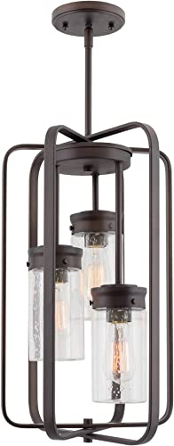 Kira Home Augustine 20.5 Modern 3-Light Large Ceiling Pendant Chandelier, Free Swinging Arms Cylinder Glass Shades, Oil Rubbed Bronze Finish