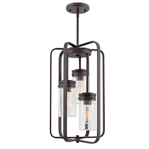 """Kira Home Augustine 20.5"""" Modern 3-Light Large Ceiling Pendant Chandelier, Free Swinging Arms + Glass Shades, Oil Rubbed Bronze Finish"""