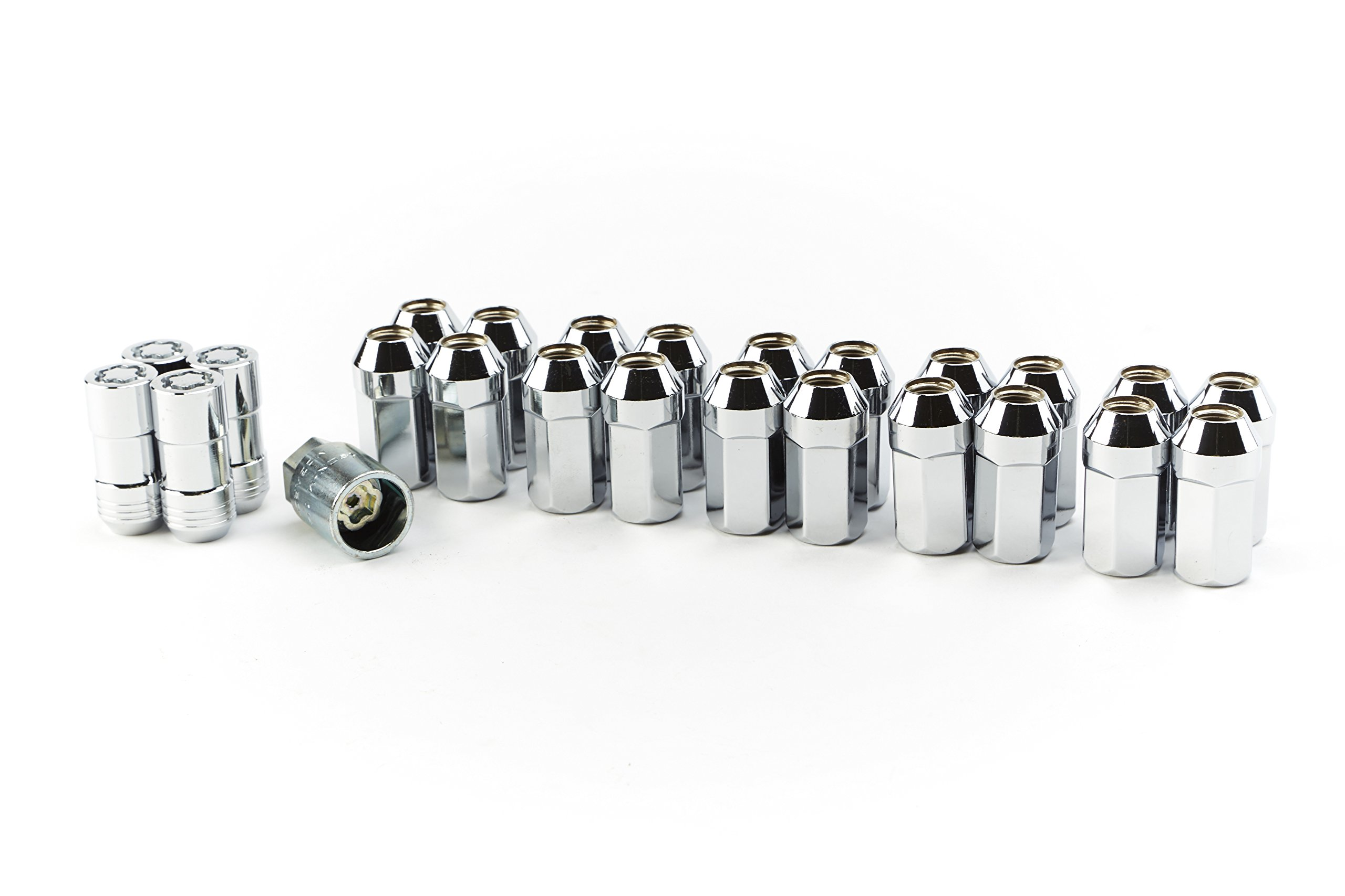 GM Accessories 19212923 M14x1.5 Steel Wheel Lug Nuts (20) and Locking Nuts (4) in Chrome with Key